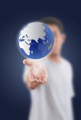 Businessman Holding globe for Social Network.
