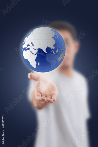 Businessman Holding globe for Social Network.