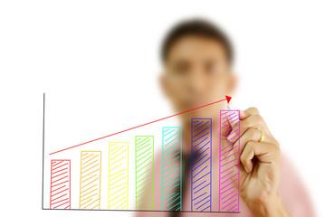 Businessman write finance graph for trade stock market