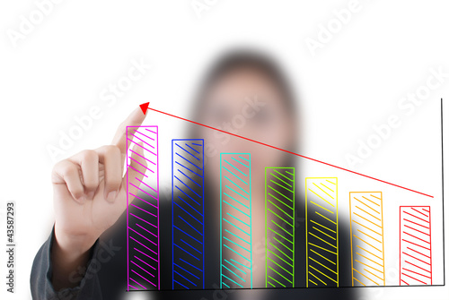 Business lady pushing graph for trade stock market