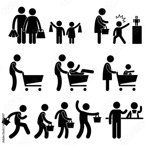 People Family Shopping Shopper Sales Promotion Pictogram