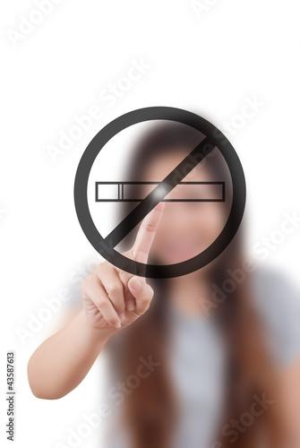 Business lady pushing stop smoke on the whiteboard.