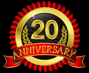 20 years anniversary golden label with ribbons, vector