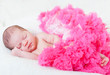 sleeping small princess in pink laces (the newborn girl)