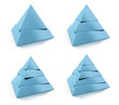 3d abstract pyramids set, two, three, four, five levels