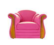 old pink leather sofa isolated on white