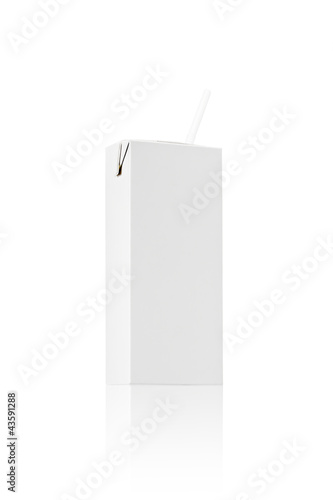 Milk or juice pack box with straw,  Realistic photo image