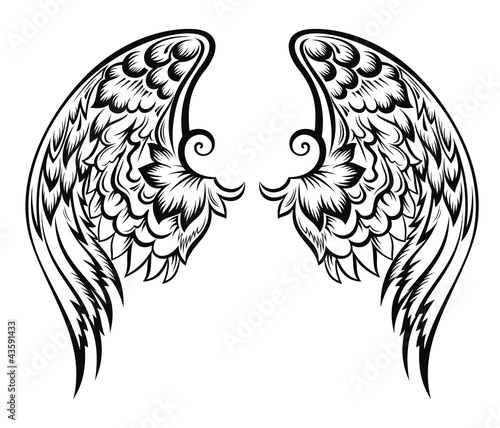 Hand drawn vector wing.Tatoo design