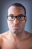 Beautiful black man portrait wearing glasses