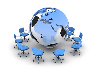 Soccer ball, earth globe and office chairs