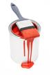 Roter Farbeimer mit Pinsel