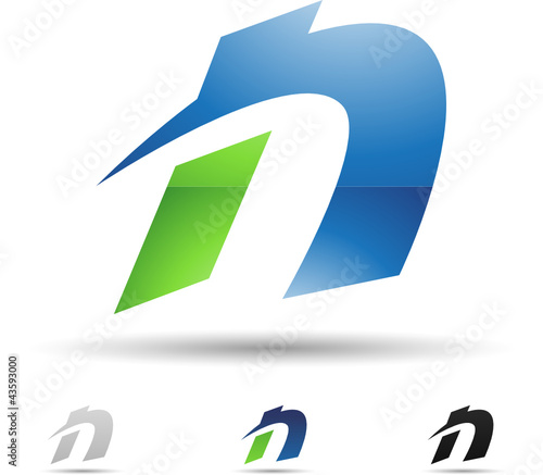 Vector illustration of abstract icons of letter N - Set 1