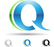 Vector illustration of abstract icons of letter Q - Set 9