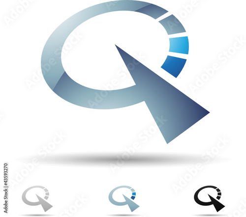 Vector illustration of abstract icons of letter Q - Set 5