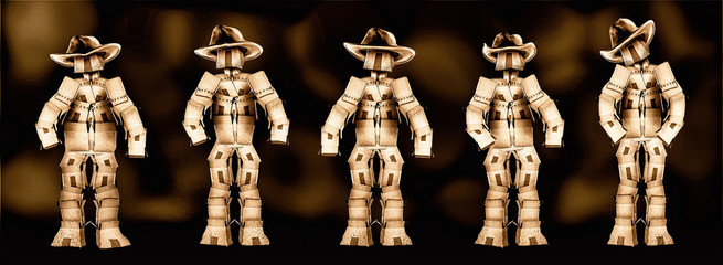 Cowboy boxmen characters HDR with dark background