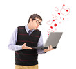 Man giving a kiss on a laptop and red heart shapes around