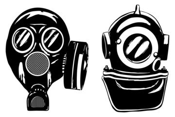 Gas mask and deep diver's helmet, vector illustration