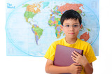 Boy Holding a Book with World Map Background