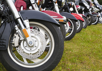 Different kind of bikes wheels in line
