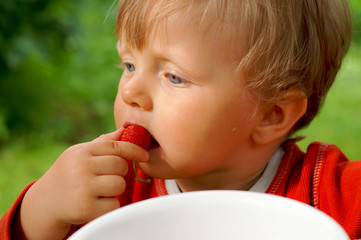 Child eating strawberry