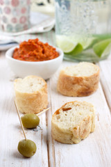 Baked peppers sauce and french baguette bread
