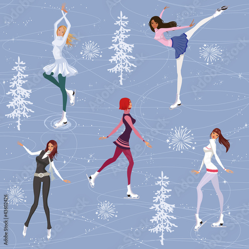 Seamless pattern with pretty girls skating on ice