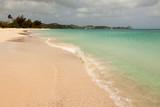 Tropical Sandy Caribbean Beach with Cloudy Overcast Sky poster