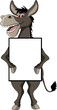 funny donkey cartoon smiling with blank sign