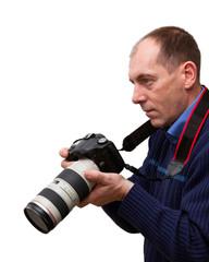 Photographer isolated on white background.