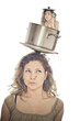 Girl with a pot on the head, containing a small girl with ladle