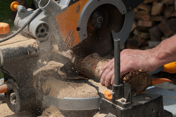 Chopping Logs with Circular Saw