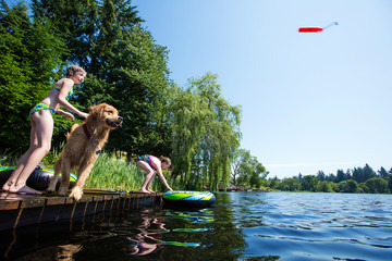 Children playing fetch with their golden retriever dog on a lake