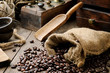 Roasted coffee beans in vintage setting