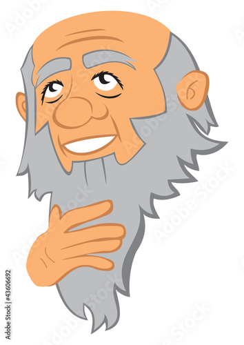 Portrait of thinking old man with beard