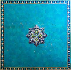 Textured ancient blue tiles