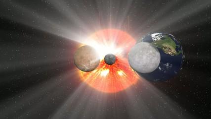 Solar system with sun rays