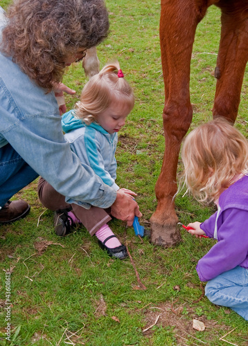Toddler Girls Learn Horse Foot Care