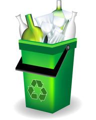 Bidone verde - riciclaggio vetro