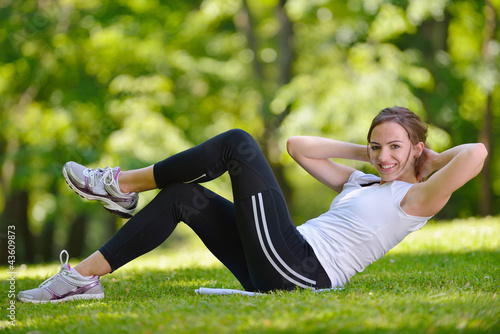 woman stretching before fitness