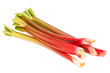 Rhubarb stalks isolated on white