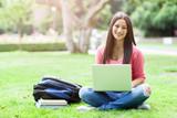 Hispanic college student with laptop