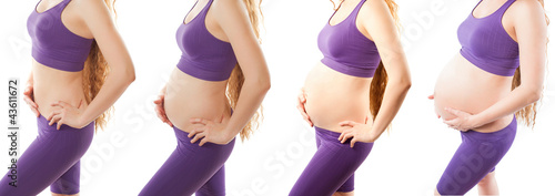 fitness  body of slim and pregnant women on white background