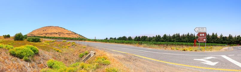 Crossroad in rural landscape