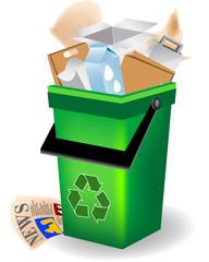 Bidone verde - riciclaggio carta
