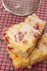 Raspberry and white chocolate slices