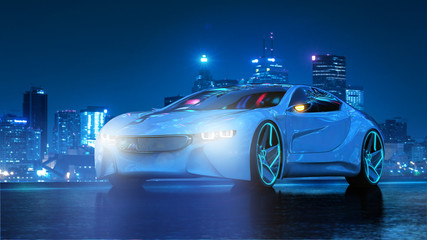 Futuristisches Elektromobil bei Nacht 3D
