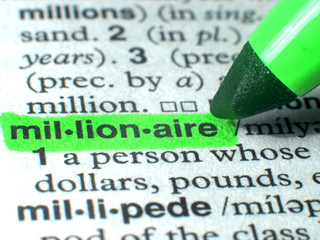 Millionaire Highlighted In Dictionary In Green