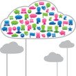 Social media clouds shape made with global communication icons.