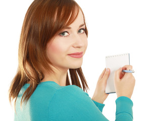 Young woman standing  with notebook
