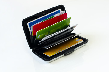 Kredit- und Kundenkarten im Kartenportemonnaie